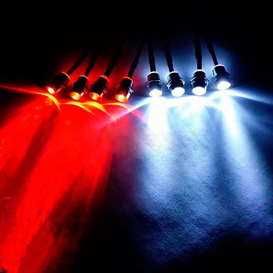 Kit 2x4 LED 5 mm red and white
